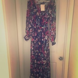 Maxi Flared Printed Dress with Full Sleeves